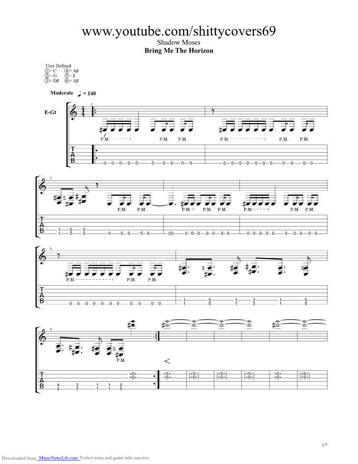 Shadow Moses guitar pro tab by Bring Me The Horizon @ musicnoteslib.com