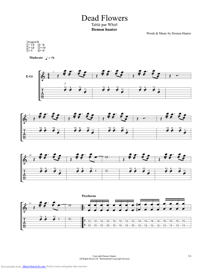 Dead Flowers guitar pro tab by Demon Hunter @ musicnoteslib.com