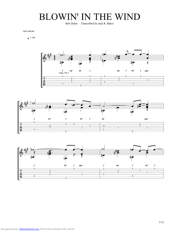 Blowin In The Wind Guitar Pro Tab By Chet Atkins Musicnoteslib