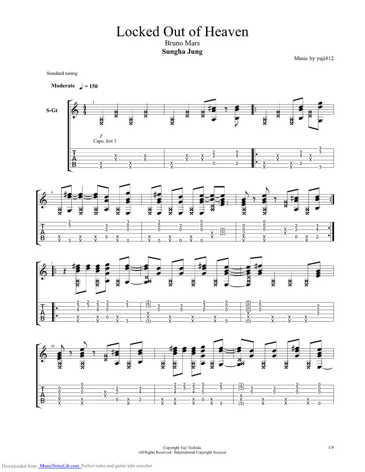 Locked Out Of Heaven guitar pro tab by Sungha Jung @ musicnoteslib.com