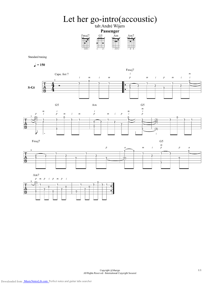Let Her Go Acoustic Guitar Pro Tab By Passenger Musicnoteslib