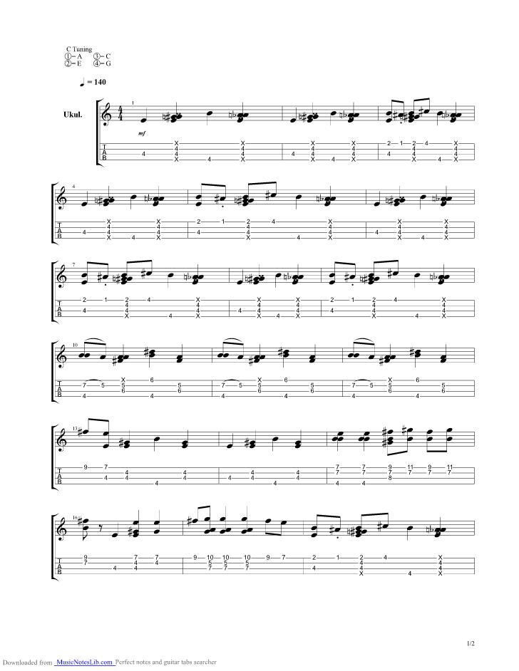 Spongebob Squarepants - Ending Theme Ukulele guitar pro tab by Misc Soundtrack @ musicnoteslib.com