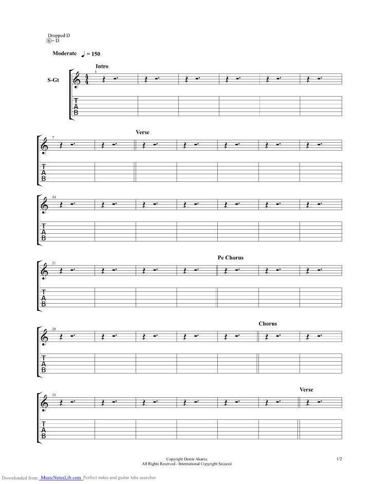 "Hollywood undead ""bullet"" sheet music in e major (transposable."