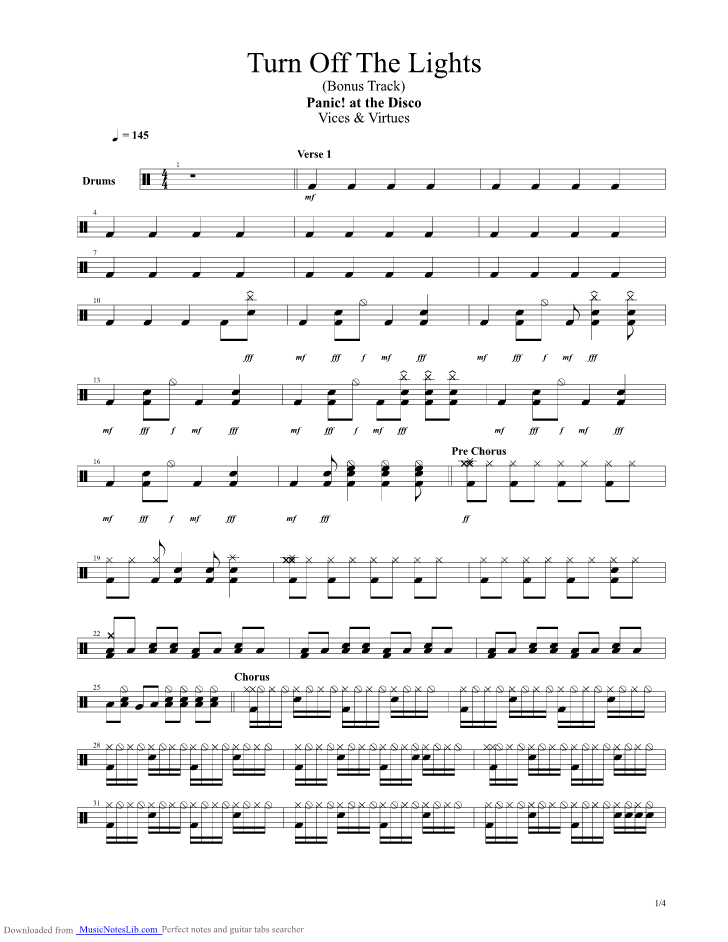 Turn Off The Lights guitar pro tab by Panic at the Disco ...