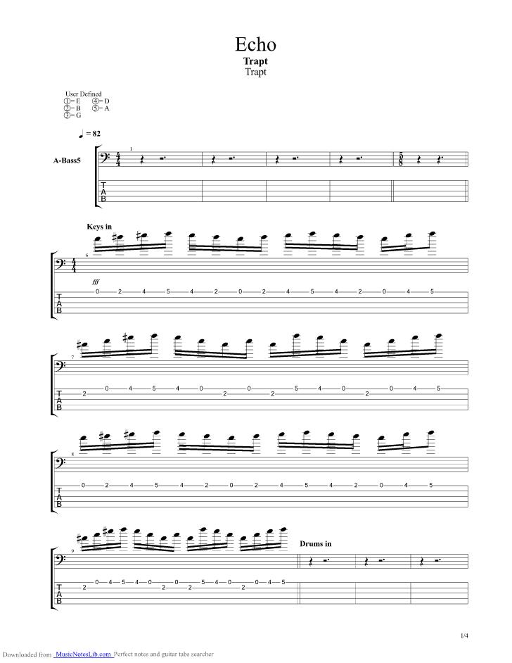 Echo guitar pro tab by Trapt @ musicnoteslib.com