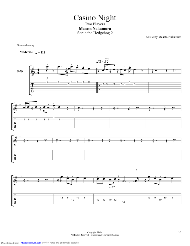 Sonic The Hedgehog 2 Casino Night Zone 2 Player Guitar Pro Tab By Misc Computer Games Musicnoteslib Com