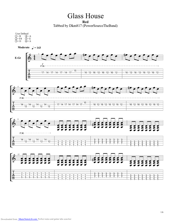 Glass House guitar pro tab by Red @ musicnoteslib.com