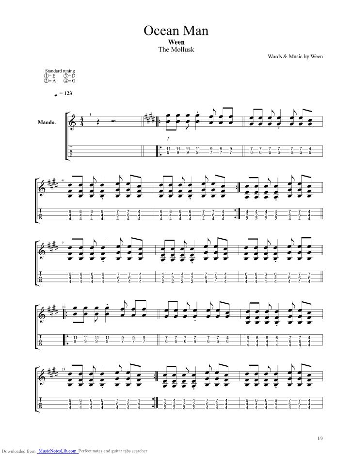 Ocean Man Guitar Pro Tab By Ween Musicnoteslib
