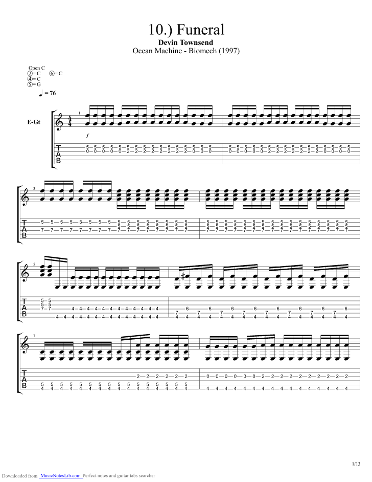 Funeral Guitar Pro Tab By Devin Townsend Musicnoteslib
