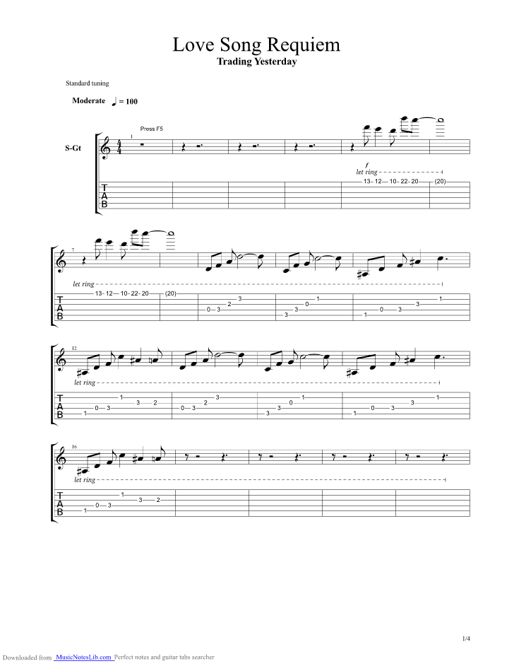 Love Song Requiem Guitar Pro Tab By Trading Yesterday