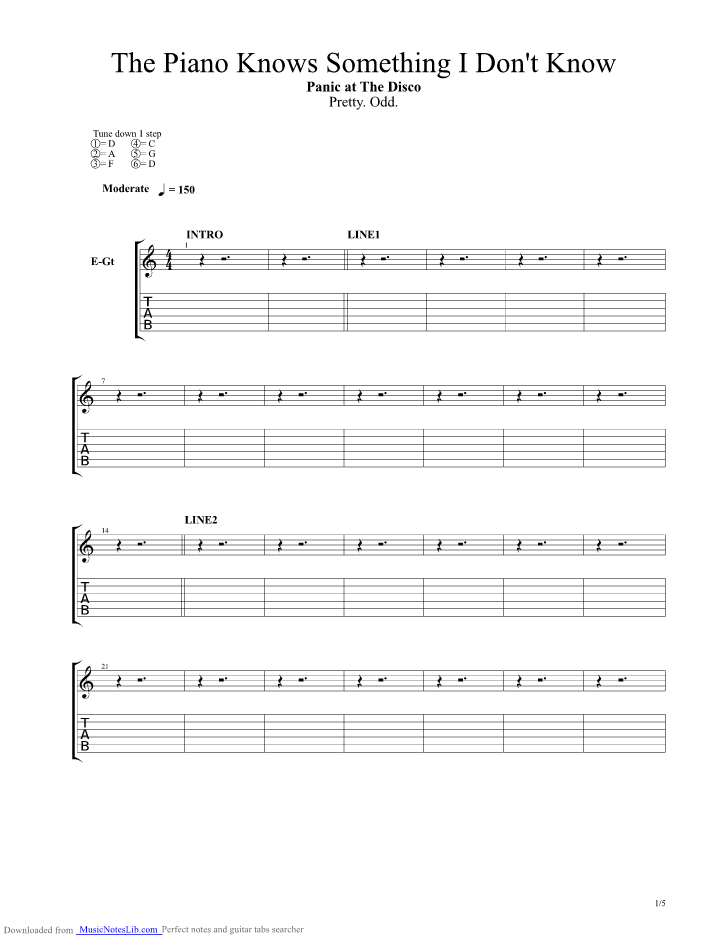 The Piano Knows Something I Dont Know Guitar Pro Tab By Panic At The