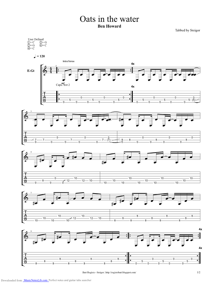 Oats In The Water guitar pro tab by Ben Howard @ musicnoteslib.com