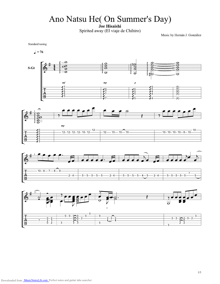 One Summers Day Guitar Pro Tab By Spirited Away Musicnoteslib Com