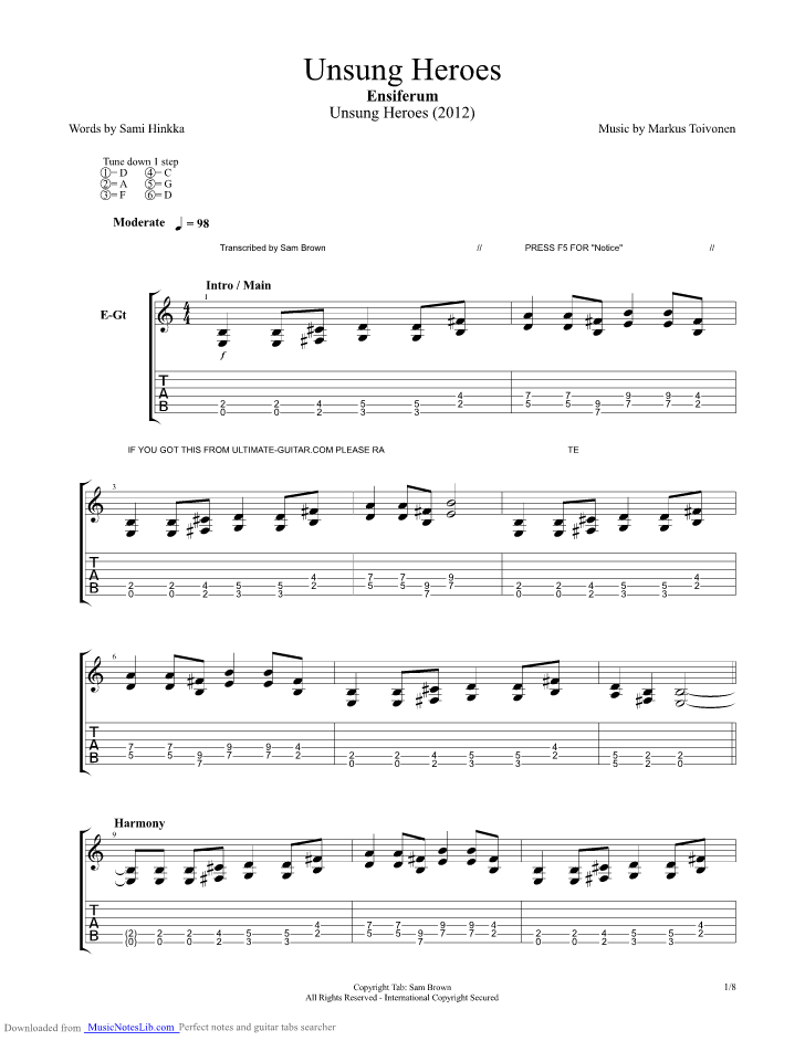 how to play hero of war chords