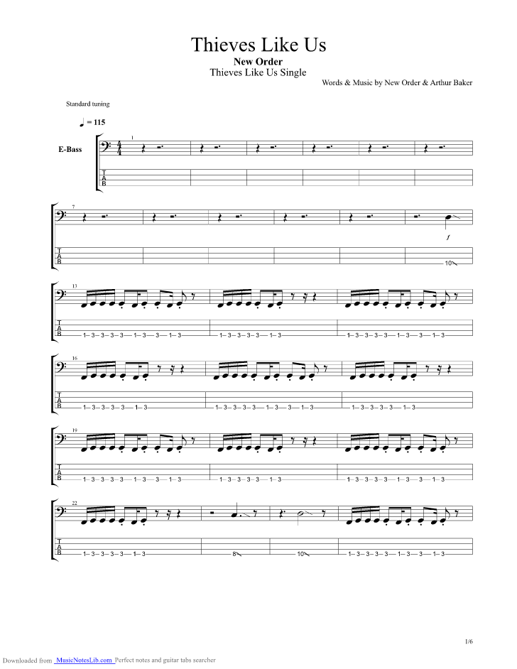 Thieves Like Us Guitar Pro Tab By New Order Musicnoteslib