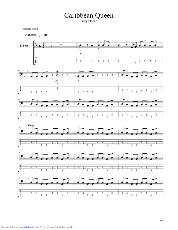Caribbean Queen guitar pro tab by Billy Ocean @ musicnoteslib.com