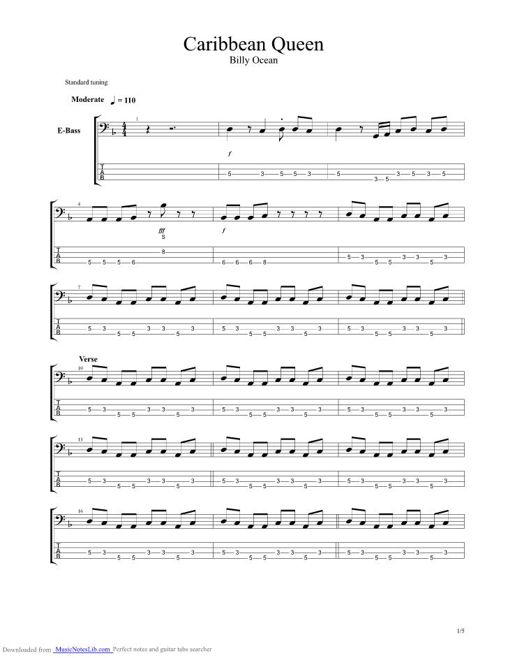 Caribbean Queen Guitar Pro Tab By Billy Ocean Musicnoteslib