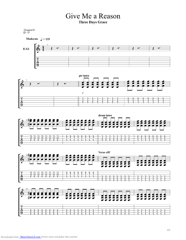 Give Me A Reason guitar pro tab by Three Days Grace @ musicnoteslib.com