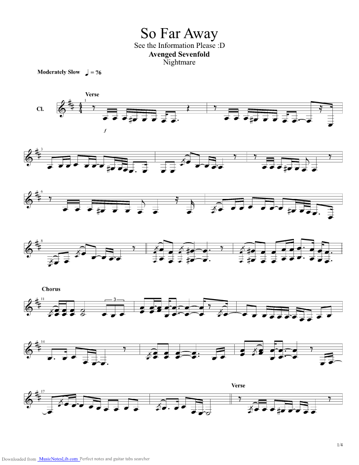 so far away acoustic guitar pro tab by avenged sevenfold. Black Bedroom Furniture Sets. Home Design Ideas