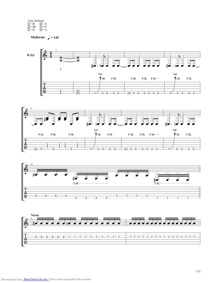 Desperado guitar pro tab by Upon A Burning Body @ musicnoteslib.com