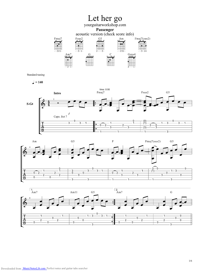 Let Her Go Guitar Pro Tab By Passenger Musicnoteslib