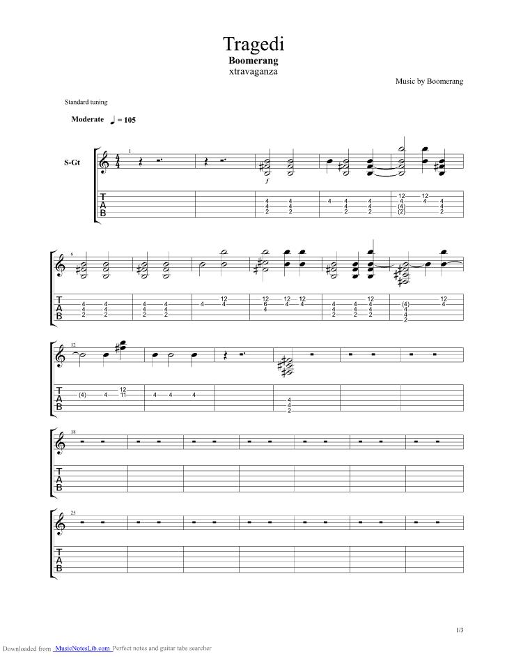 Tragedi guitar pro tab by Boomerang @ musicnoteslib.com