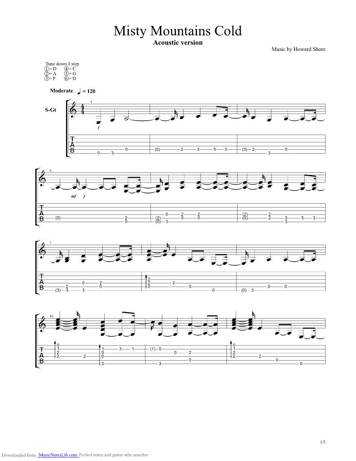 Misty Mountains Cold Acoustic Guitar Pro Tab By Lord Of The Rings