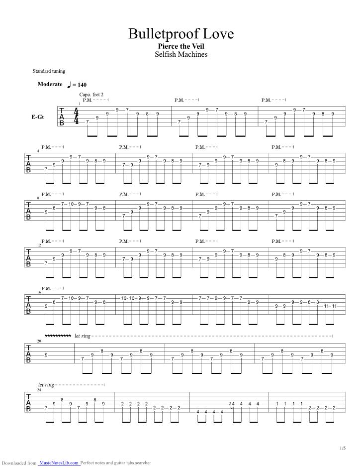Bulletproof Love Guitar Pro Tab By Pierce The Veil Musicnoteslib