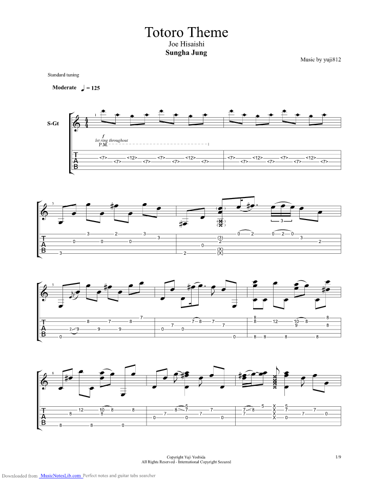 Totoro Theme guitar pro tab by Sungha Jung @ musicnoteslib.com