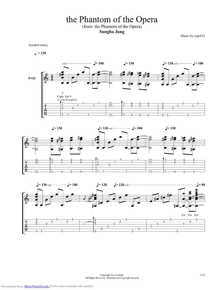 The Phantom Of The Opera guitar pro tab by Sungha Jung ...