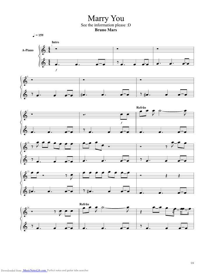 Marry You Guitar Pro Tab By Bruno Mars Musicnoteslib