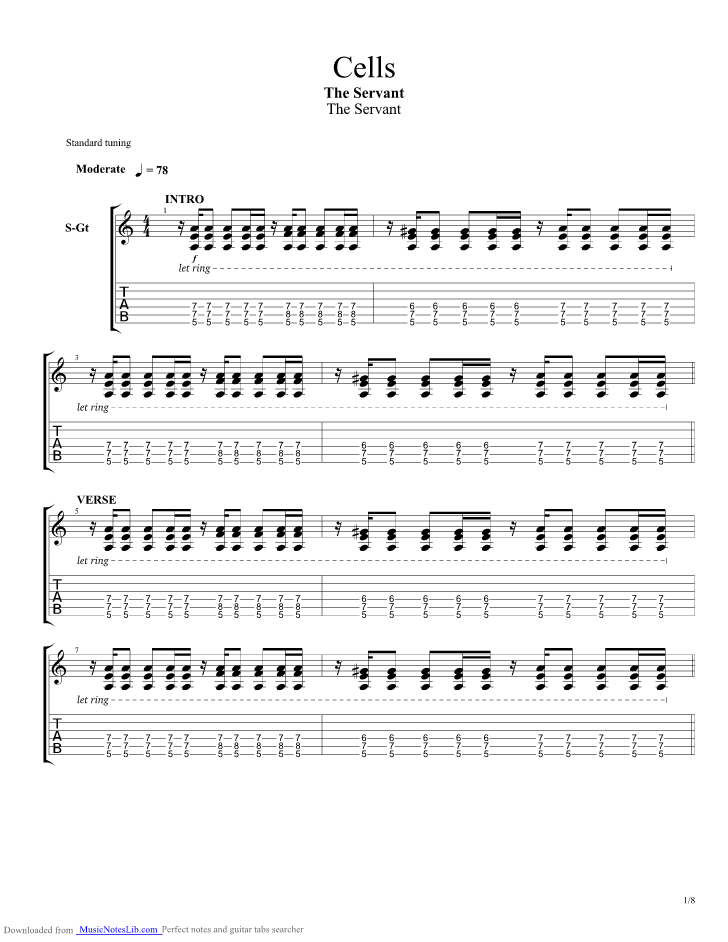 Cells Guitar Pro Tab By The Servant Musicnoteslib