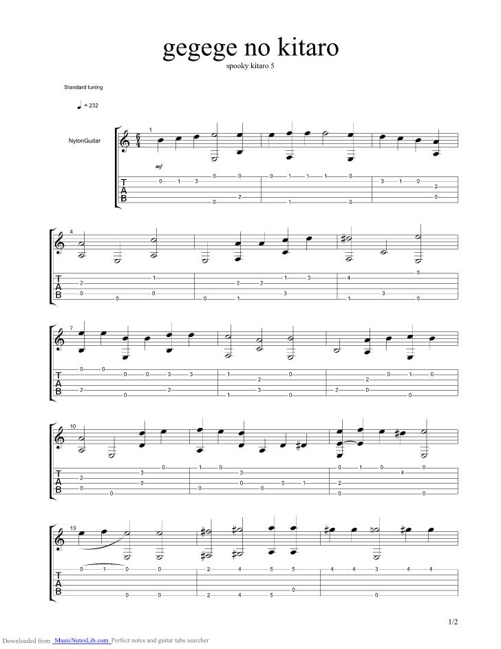 Gegege No Kitaro - Spooky Kitaro guitar pro tab by Misc Soundtrack ...