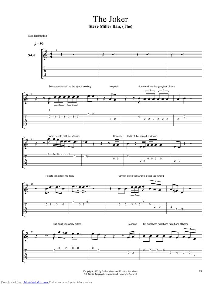The Joker Acoustic Guitar Pro Tab By Steve Miller Band