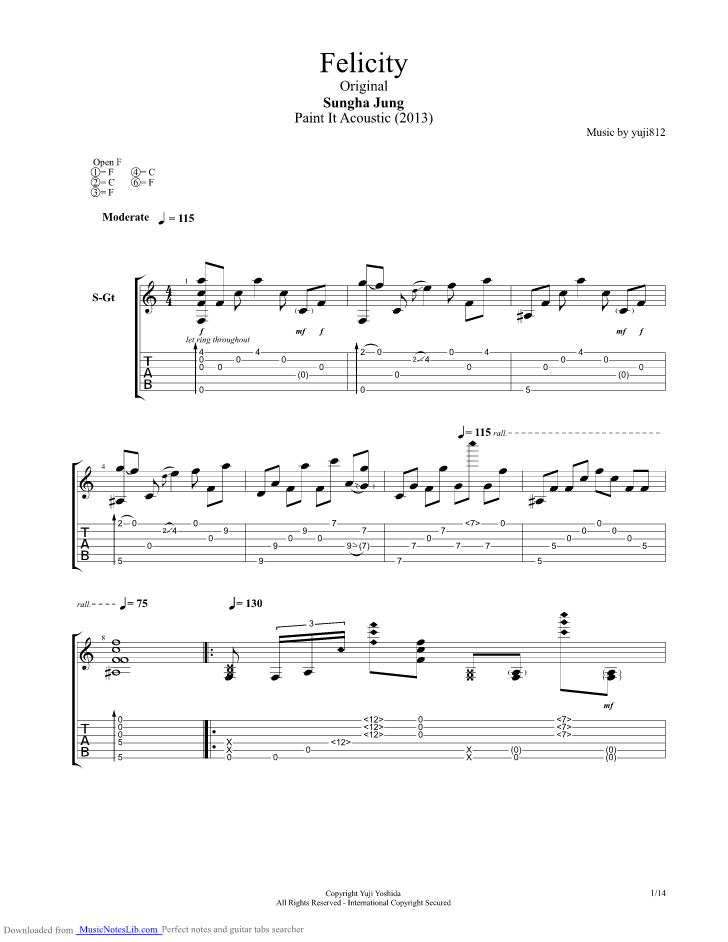 Felicity Guitar Pro Tab By Sungha Jung Musicnoteslib
