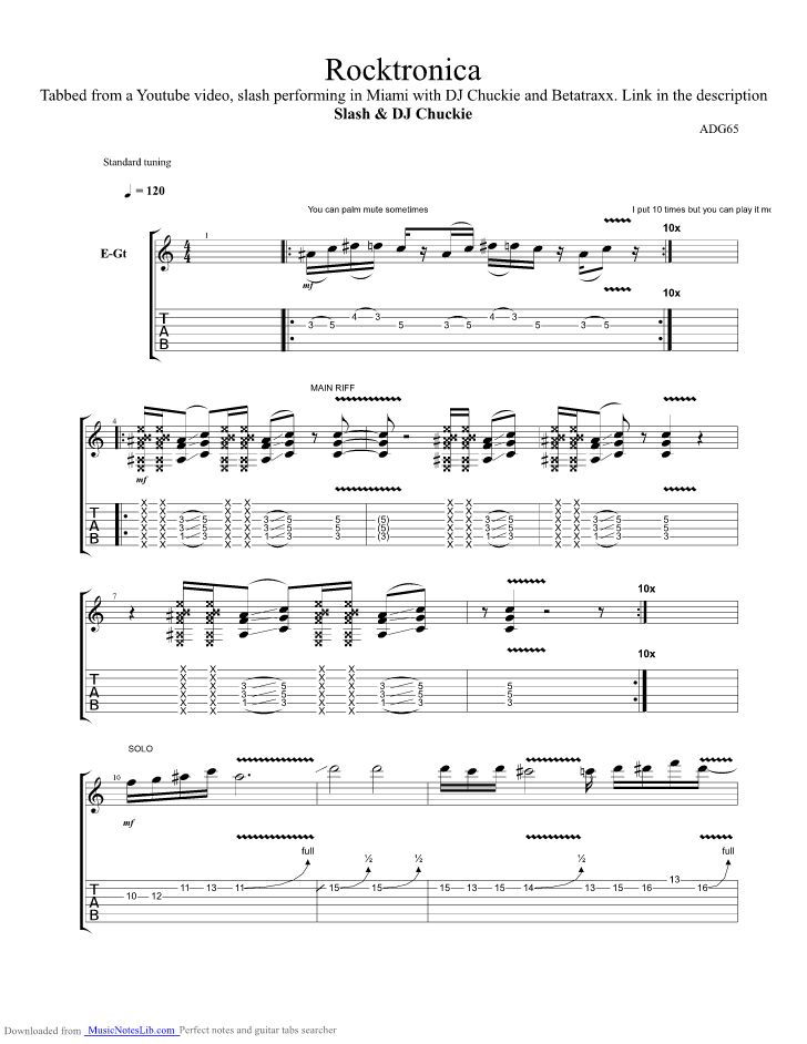 Rocktronica guitar pro tab by Slash @ musicnoteslib com