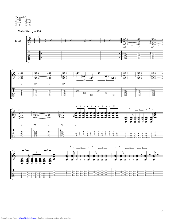 Odd One Guitar Pro Tab By Sick Puppies Musicnoteslib