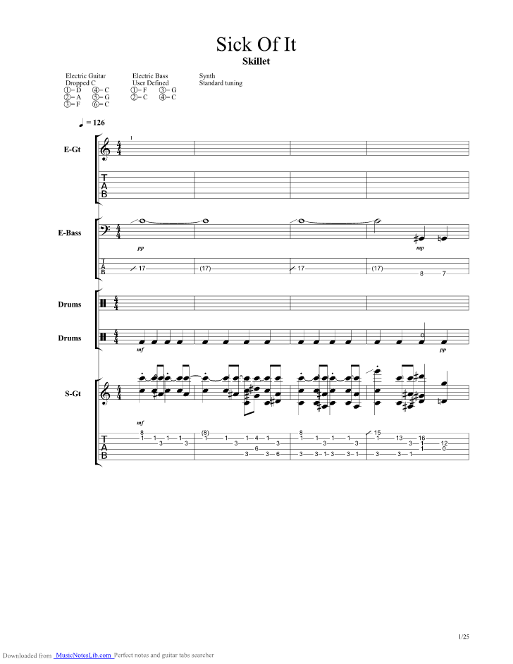 Sick Of It Guitar Pro Tab By Skillet Musicnoteslib