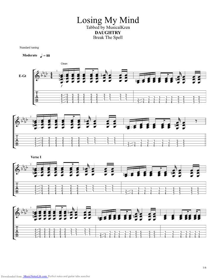 Learn my lesson daughtry guitar tab