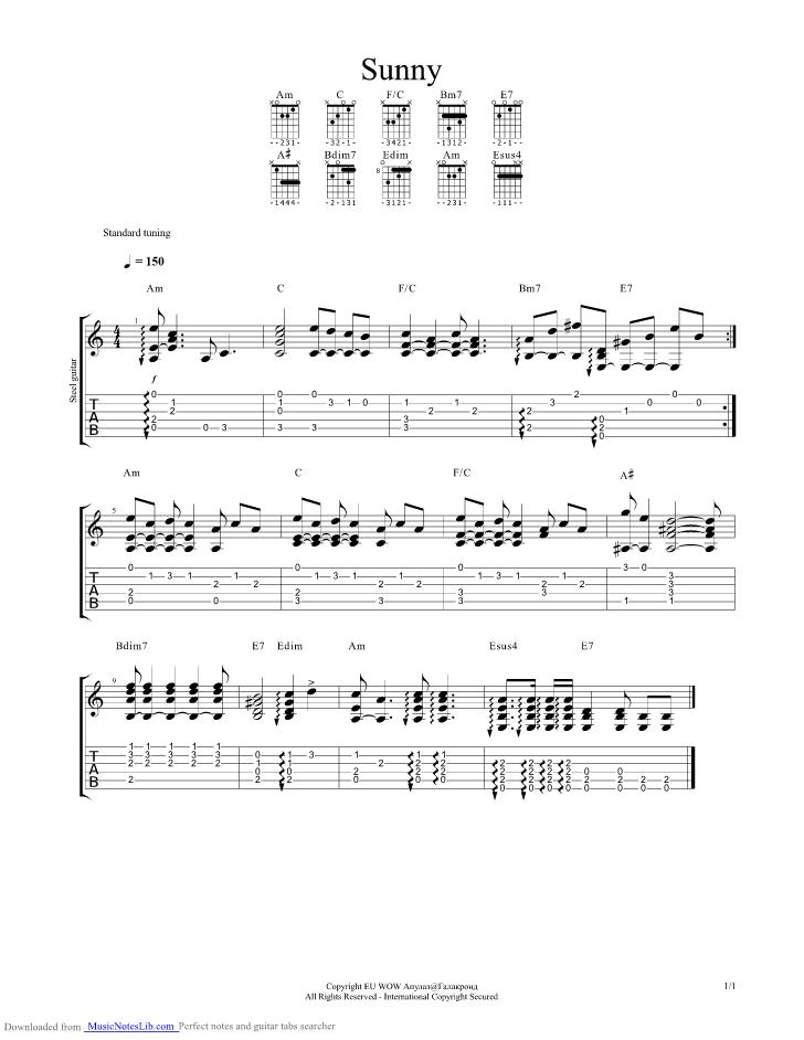 Sunny Guitar Pro Tab By Boney M Musicnoteslib