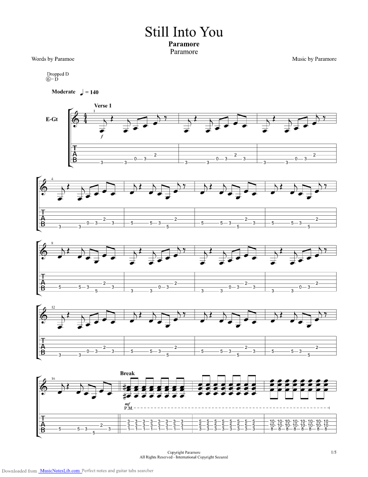 Still Into You guitar pro tab by Paramore @ musicnoteslib.com