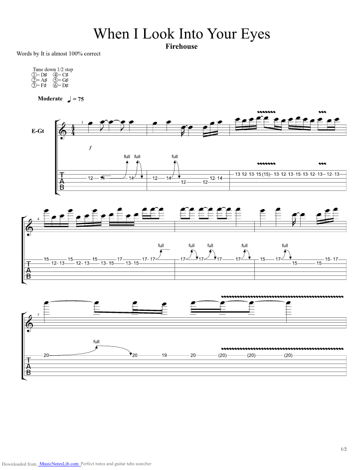 When I Look Into Your Eyes Guitar Pro Tab By Firehouse