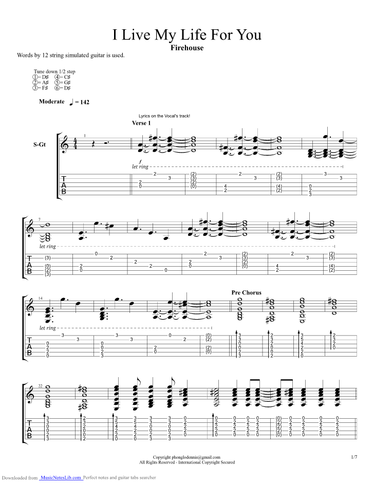 When i look into your eyes firehouse guitar pro tab