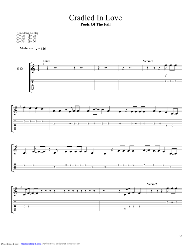 Cradled In Love Guitar Pro Tab By Poets Of The Fall Musicnoteslib