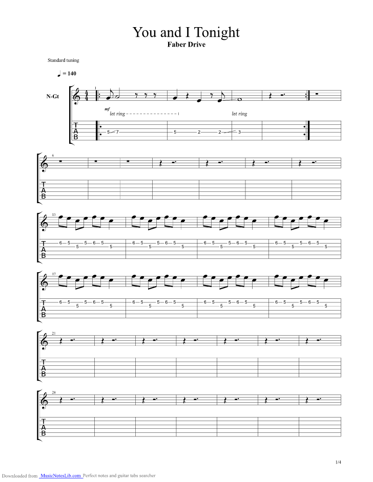 You And I Tonight guitar pro tab by Faber Drive @ musicnoteslib.com