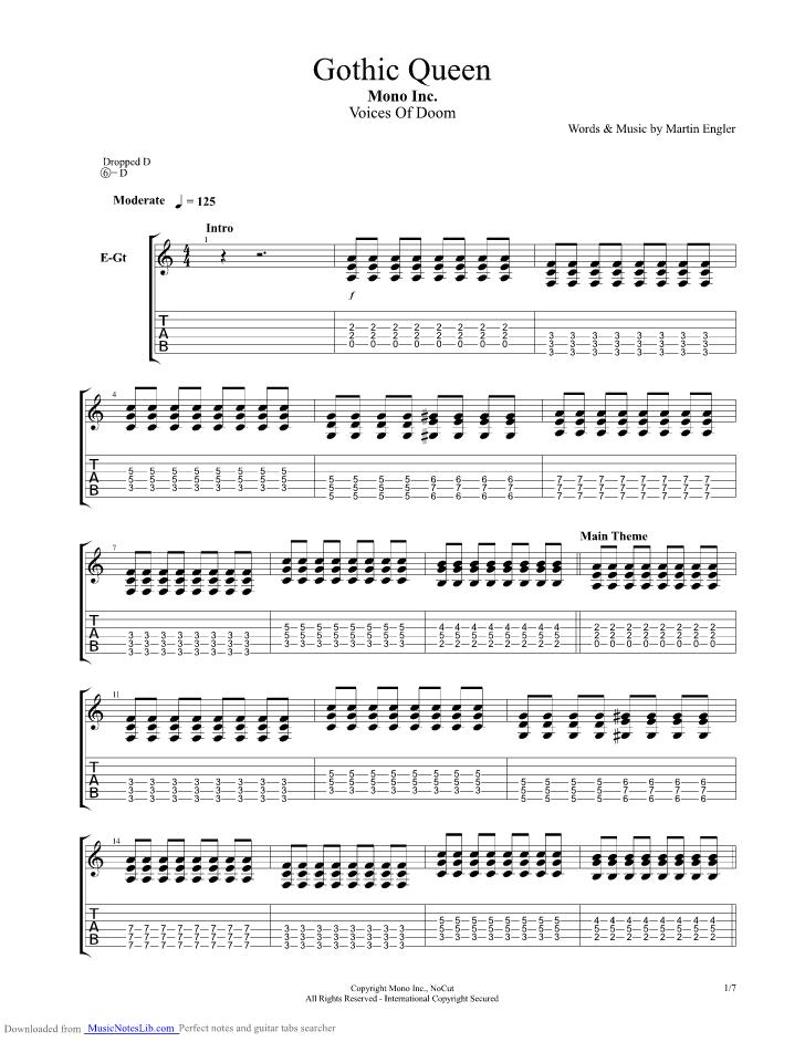 Gothic Queen guitar pro tab by Mono Inc @ musicnoteslib com