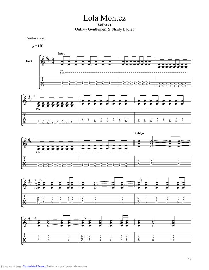 Lola Montez guitar pro tab by Volbeat @ musicnoteslib com