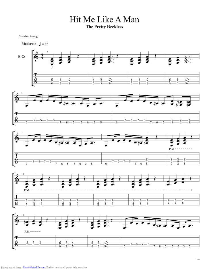 Hit Me Like A Man guitar pro tab by The Pretty Reckless ...