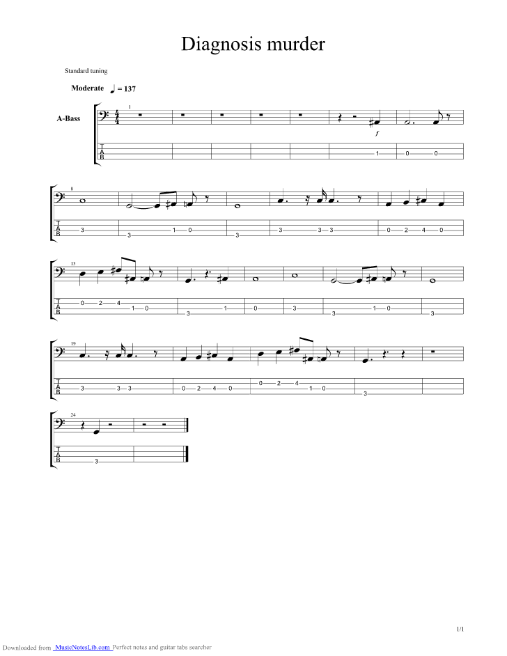 Diagnosis Murder Theme Guitar Pro Tab By Misc Soundtrack