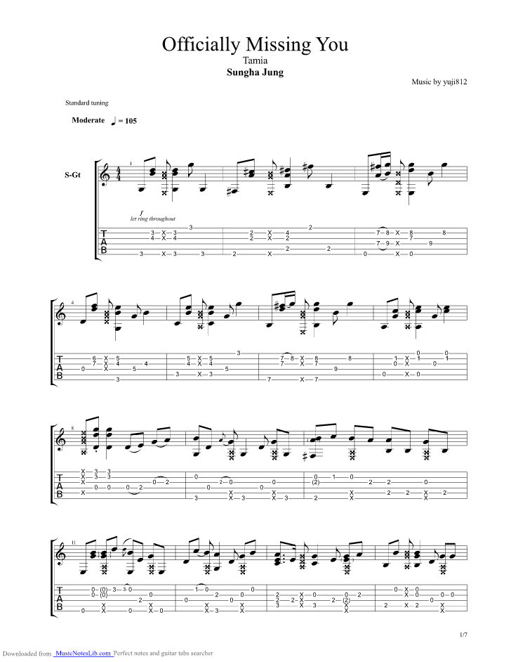 Officially Missing You guitar pro tab by Sungha Jung @ musicnoteslib.com